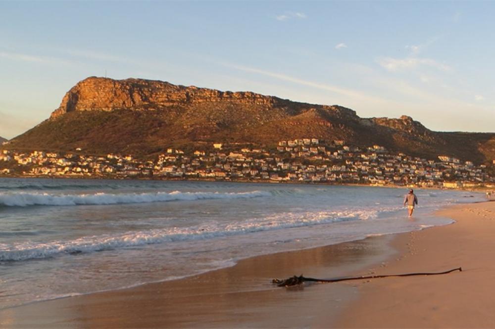 Sunrise beach walk at Fish Hoek beach